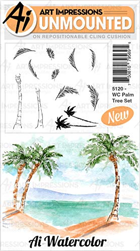 Art Impressions Watercolor Cling Rubber Stamps-Palm Tree