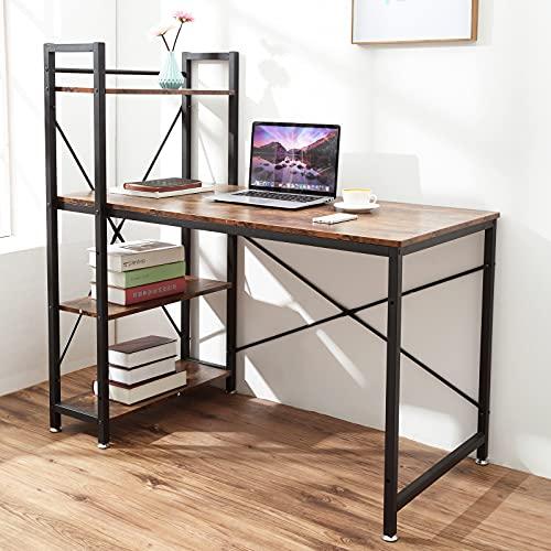 Oak & Tea Computertisch, Schreibtisch mit 4-stufigen DIY-Lagerregalen links oder rechts, 120 * 60 * 122 cm Arbeitstisch für Büro-Wohnzimmer, Stahlrahmen