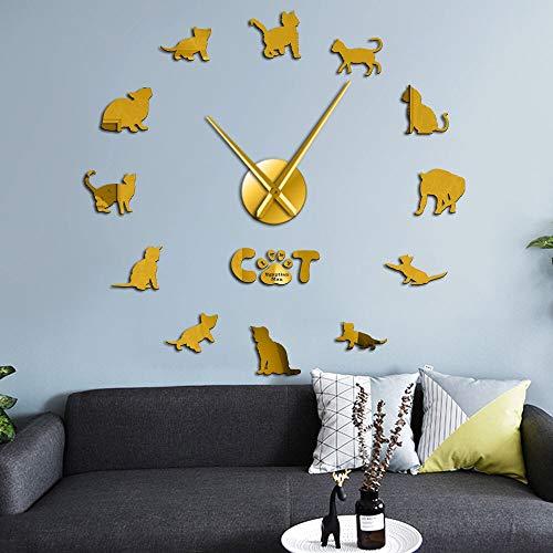 Divertido Gato Egipcio MAU gráfico 3D DIY Reloj de Pared Gatito Raza Animal Espejo Superficie Reloj acrílico Reloj Tienda de Mascotas Decoración de pared-47 Pulgadas