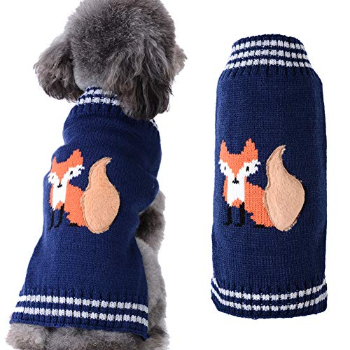 DOGGYZSTYLE Dog Sweaters Pet Clothes Animal Print Puppy Cat Knitted Sweaters Jacket Coat Apparel (Fox,L)