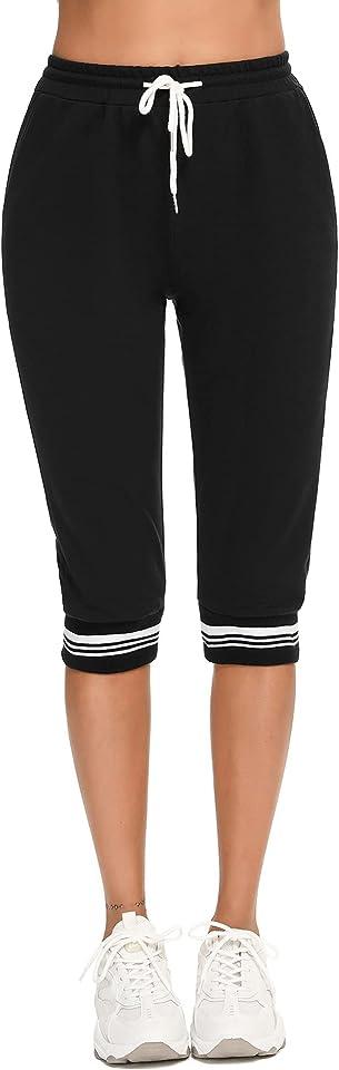 Jogginghose Damen 3/4 Trainingshose Kurze Sporthose mit Tasche Fitness Yogahose für Sport und Freizeit