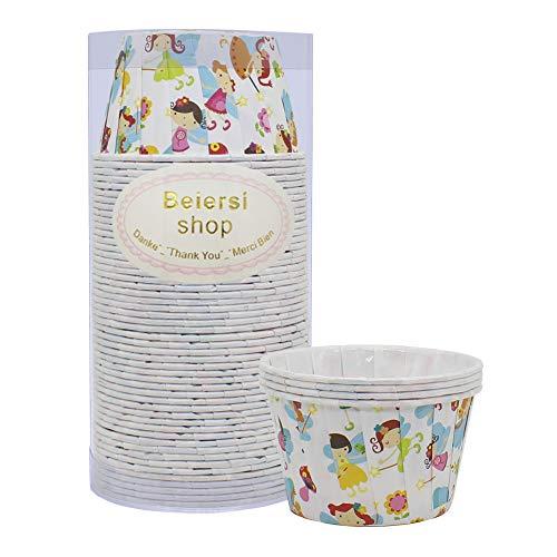 Beiersi Lot DE 50 Caissettes Cupcake Moule Muffin Papier pour Caissette Muffins Moule a Gateau Decoration