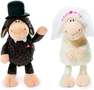 HYST Soft Jolly Mah Sheep Lovers The Bride and Groom Sheep Toy Stuffed Animal Plush Toy for Wedding Decoration Valentine's Day 13.8 inch