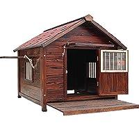屋外犬猫ハウスは、大型犬のために暖かい防風防雨ケンネル炭化が安定しており、ソリッドウッドドッグケージヴィラ腐敗ない換気します,ブラウン,XXL