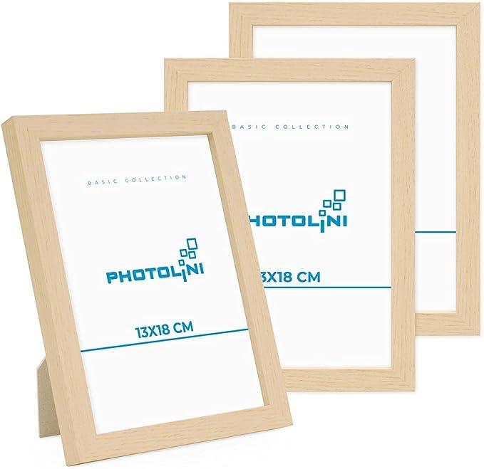 5461 opinioni per Photolini Set di 3 cornici per Foto da 13x18 cm Modern Naturale in MDF con Vetro
