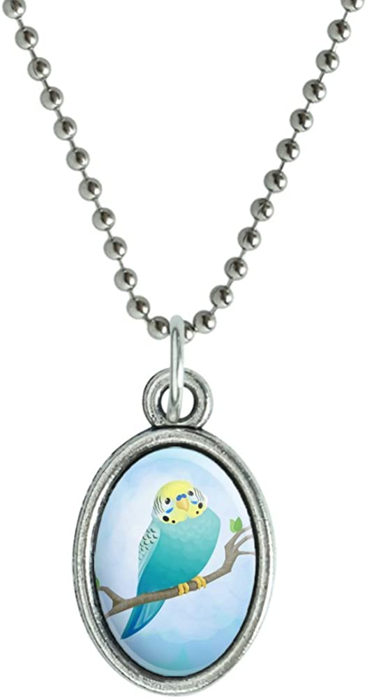GRAPHICS & MORE Pretty Parakeet Budgie Antiqued Oval Charm Pendant with Chain