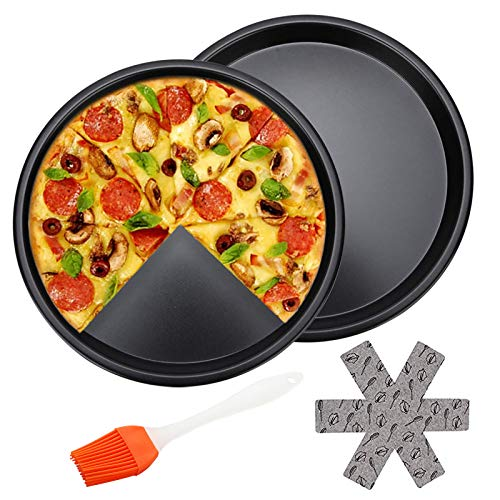 Pizza Tray Set Deep Dish Nonstick Pizza Pan 10 Inch Stainless Carbon Steel Round Oven Pizza Bakeware For Home Kitchen Pizza, Pie, Cake, Cookie, Non-Toxic And Healthy, Easy Clean And Safe 2 Pack