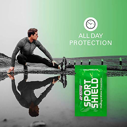 2Toms SportShield Anti-Chafe and Blister Prevention for Your Body, Sweatproof and Waterproof, Prevent Skin Irritation from Chafing, Single Use Towelettes, 6 Pack