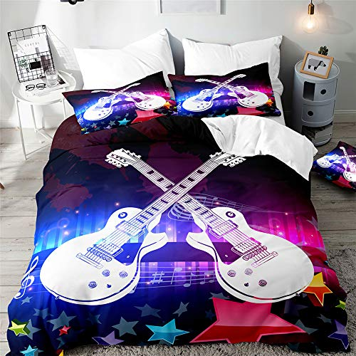 Duvet Cover Set for Single Double Super King Size Bed, Morbuy 3D Guitar Printed Microfiber Bedding Sets Duvet Set with Pillowcases and Quilt case (Starlight,Double-200x200cm)