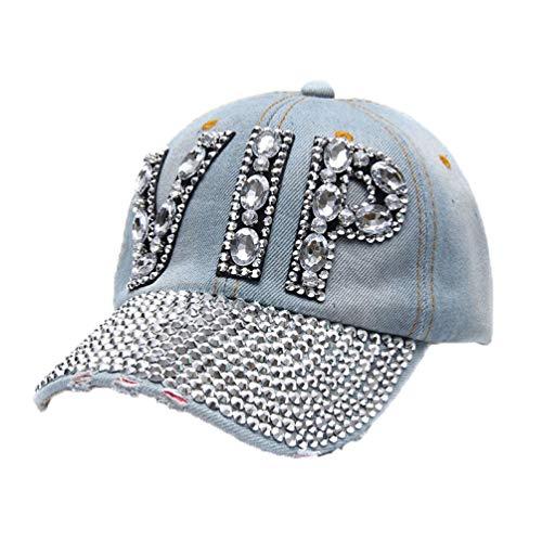 Gorra de béisbol de Diamantes de imitación para Mujer Sombreros con sombreado de Sol Sombreros de Snapback Sombrero de Hip Hop de Mezclilla