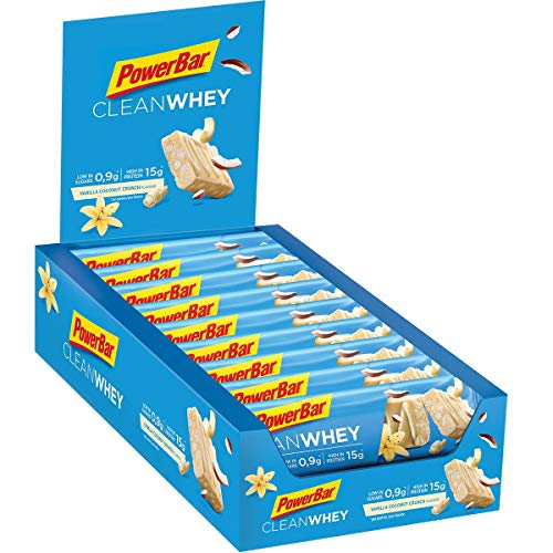 PowerBar Clean Whey Vanilla Coconut Crunch 18x45g - High Protein Low Sugar Riegel