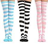 3 pares de calcetines hasta la rodilla lindo conjunto de rayas para mujer mujeres adolescentes niña, kawaii colorido sobre la rodilla medias largas altos rizados hasta el muslo para cosplay carnaval