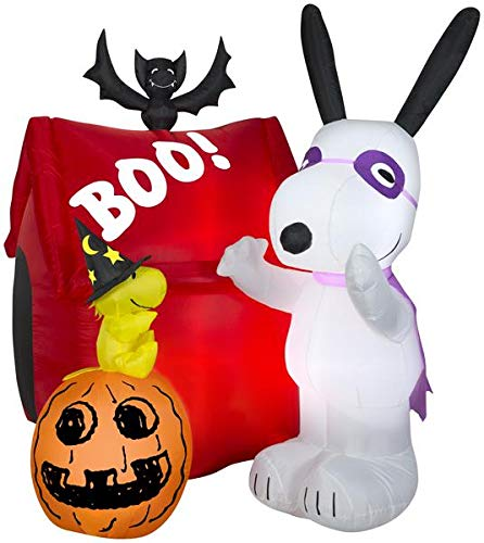 Gemmy 5.5' Airblown Snoopy Halloween House Scene Peanuts Inflatable