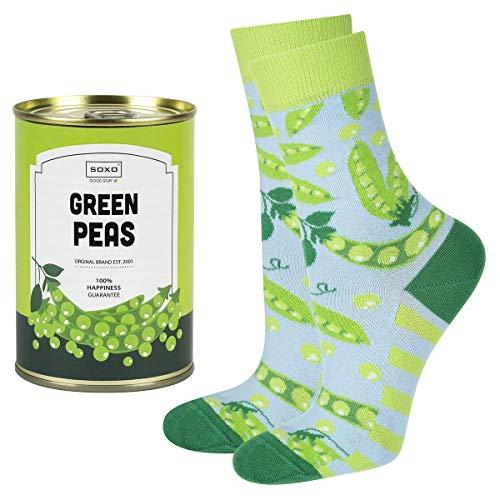 soxo calcetines de colores, estampados con guisante | para Mujer | embalaje divertido lata de conserva | 35-40 EU| calcetines de algodón alegres divertidos largos| idea para regalo empaquetado
