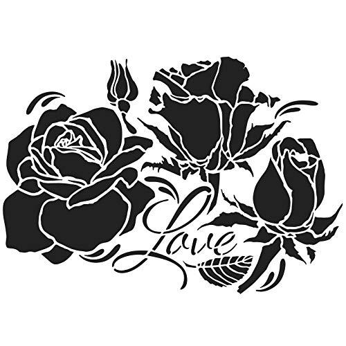 Ideen mit Herz Laser-Kunststoff-Schablone | DIN A4 | Perfekt geeignet für Textilgestaltung, Wandgestaltung, Fenster, Papier, Scrapbooking, Kinder, Basteln, DIY (Rosen | Love)