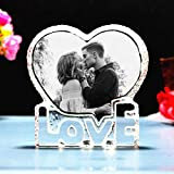 Personalized heart-shaped photo frame-crystal photo frame custom laser engraved photo, birthday, anniversary, wedding gift, gift for girlfriend, couple, husband, wife, boyfriend, parents
