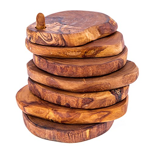 Set di 6sottobicchieri in legno d' ulivo fatto a mano, Rustic by Elitecrafters