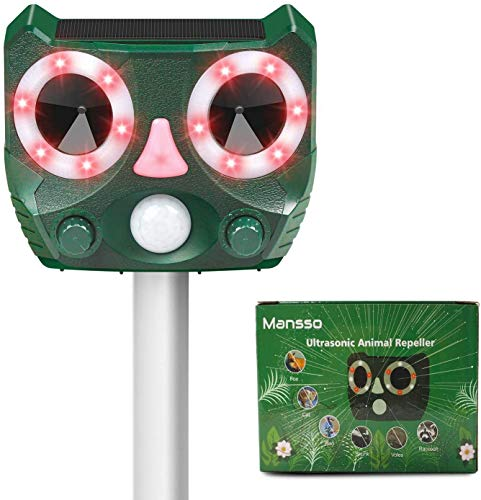 Mansso Ultrasonic Repellente Solare per Animali con Batteria al Iitio Integrata da 1500 mAh e Luce Flash, Impermeabile, Ampia Copertura per Gatti, Uccelli, Orsi Lavatrici, Esterni, Prato, Giardino
