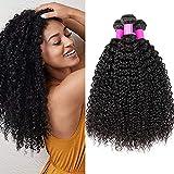 BLISSHAIR Extensiones de cabello brasileño ondulado 100% virgen sin procesar, 3 paquetes de extensiones de cabello rizado natural de color negro 14 16 18 pulgadas