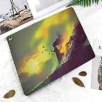 新しい ipad pro 11 2018 ケース スリムフィット シンプル 高級品質 防止 二つ折 開閉式 防衝撃デザイン 超軽量&超薄型 全面保護型 iPad Pro (11 インチ)家の夜の屋根の上の燃えるような焼けた少女魔法の炎神秘的なファンタジーイラスト