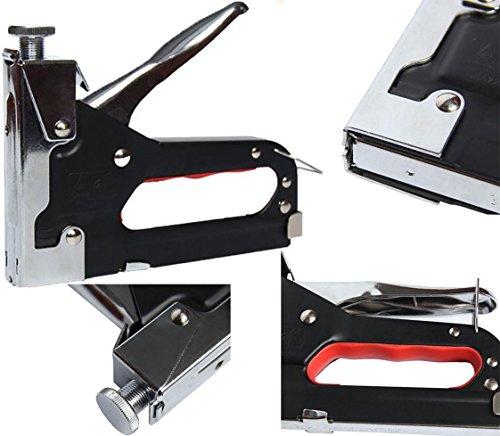 Heavy Duty 3-weg nietpistool -DIY Tool, kabels, bekleding, hout, stoffen, Pywood gordijnen en nietjes (incl. Smiley Face Magnet