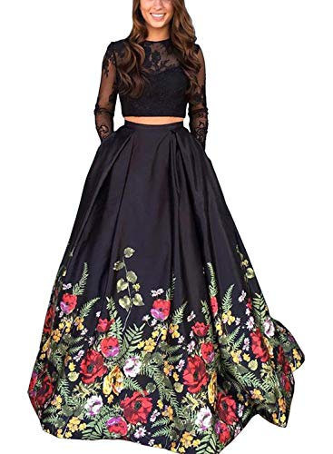 MonaliaWomen's 2 Pieces Prom Dresses Long Sleeves Lace Pattern Party Gown (Black-Long Sleeves, US 14)