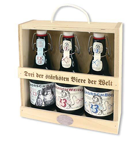 Bier Holz-Geschenkbox Schorsch, 3 verschiedene Biere von Schorschbräue (3 x 0,33 l)
