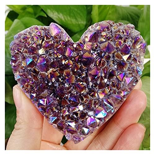 PC 1 Natural en forma de corazón crudo amatista de cuarzo racimo de cristal cicatriz patrón arco iris aura calidad piedras preciosas piedras de piedra decoración casera de la cura de piedra sala de pi