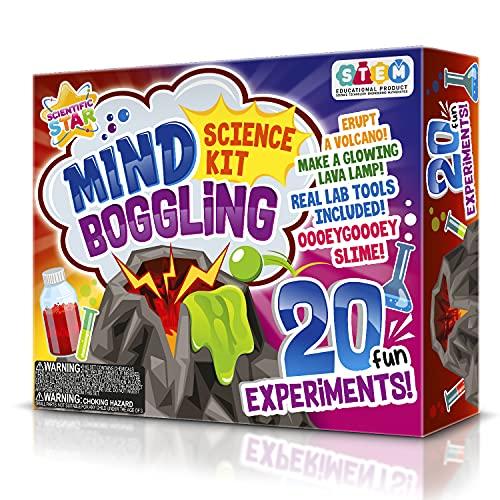 SCIENTIFIC WHIZ Set de ciencia para niños más de 20 experimentos científicos. Erupta un volcán y haz lámparas de lava y más.