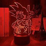 WENJZJ Lámpara de ilusión 3D Luz de Noche LED Anime Dragon Ball Figura de Goku Joven para decoración...
