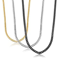 3 Pcs a set,one order including the same size in silver color,gold color,black color,match a pendant perfectly! Stainless steel curb chain, firmly, solid and durable, comfortable and affordable; Improved Long Lobster Clasp,Easy to use and better qual...