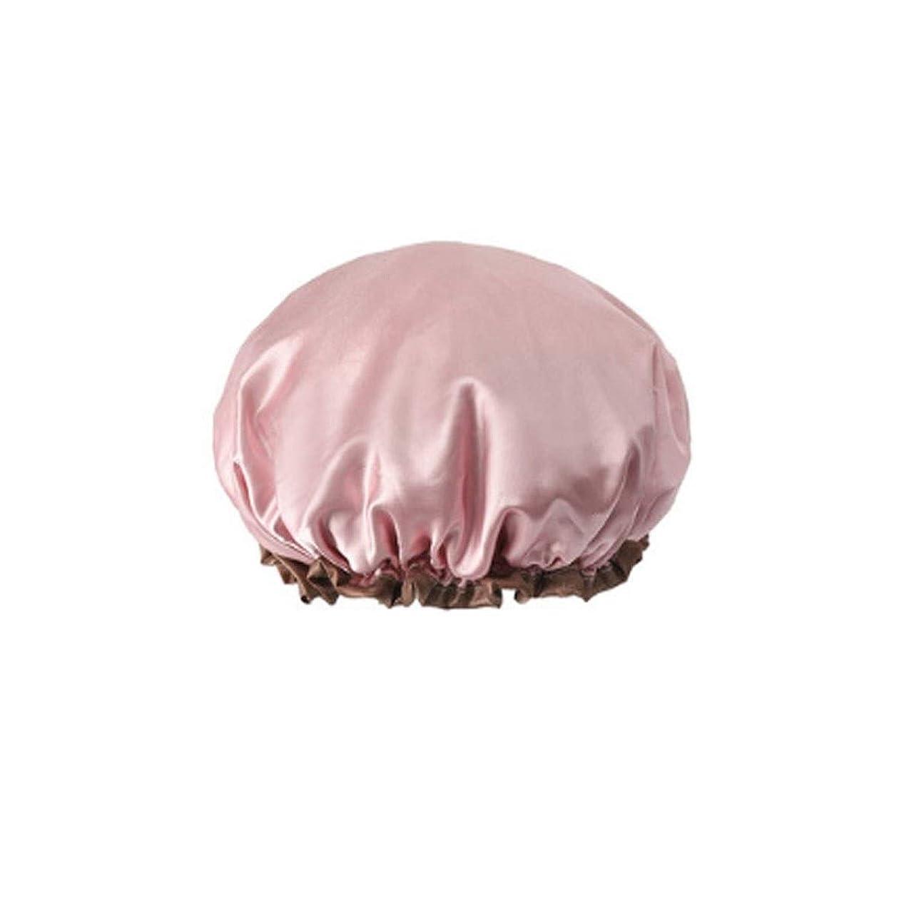 雄弁なセクション配分JJESC シャワーキャップ、ダブルシャワーキャップ、防水大人の女性のシャワーキャップ、バスヘアーカバー、シャワー帽子、防水キャップ、ヘアキャップ、 (Color : Pink)
