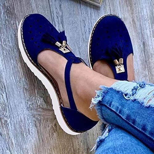 XXZ Sandalias Planas Cuña para Mujer Verano 2020 Zapatos Piel Chanclas Zapatillas Casual Cómodas Caminar Fiesta de Playa al Aire Libre Transpirable Antideslizante Mula,Azul,41