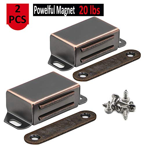 20 lbs Magnetic Door Catch, Heavy Duty Latch for Cabinets Shutter Closet Furniture Door, Stainless Steel Cabinet Catch, Oil Rubbed Bronze (2 Pack)