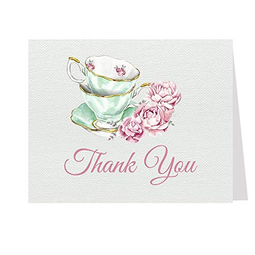 Tea Party Thank You Cards Bridal Shower Folding Notes Thanks Wedding Party Pink Mint Blush Elegant Chic Vintage Tea Cups Victorian (50 count)