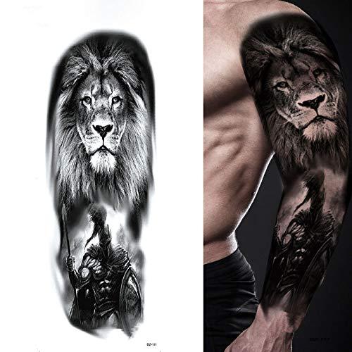 Brazo Hombro Tatuajes Temporales León/Ídolo/Animal/Soldado/Chica, 4 Hojas Grande Tatuaje Temporales Mangas Negro Tatuaje Cuerpo Pegatinas Para Adultos Hombre Mujer Niños,Artes Corporales Pegat