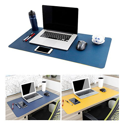 """Large Leather Desk Mouse Pad, Desk Pad Protecter 31.5"""" x 15.7"""" PU Leather Mouse Mat Non-Slip Comfortable Gaming Writing Mat Dual Use Office Desk Mat (Blue&Yellow)"""