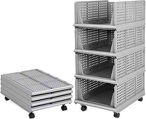 Bossjoy Set di 4 contenitori impilabili per armadio (facili da aprire e pieghevole), in plastica, per la casa, la camera da letto, la cucina, colore: grigio