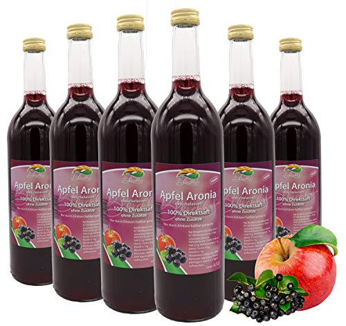 Bleichhof Apfel-Aronia Direktsaft - 100% Direktsaft, naturrein und vegan, OHNE Zuckerzusatz, 6er Pack (6x 0,72l)