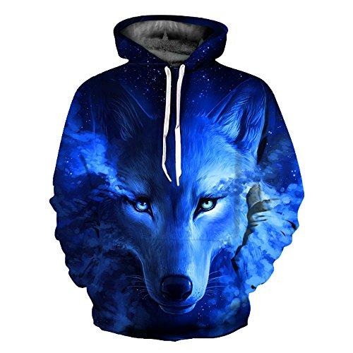 Unisex Jungen 3D Druck Kapuzenpullover Tops Fashion Hoodie Pullover Hooded Sweatshirt (Large/X-Large, Wolf blau)