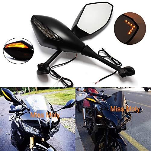 Schwarz Motorrad Signal Licht anmachen Spiegel mit LED-Pfeil für CBR GSXR CBR300R 600RR 1000RR(MattSchwarz + Rauchglas)