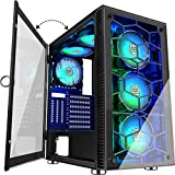 MUSETEX 6 PCS × LED ARGB Fans Pre-Installed 2 PCS × USB 3.0 Ports ATX Tower Case Magnetic Design Opening Tempered Glass Door Gaming Computer Case(230N6)