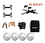 AURION 8STEELCOMBO15 Chrome Steel Weight Plates Dumbbell Set and Home Gym Pack