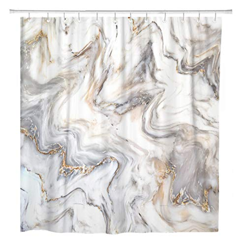 ArtSocket Shower Curtain Brown Marble Ink Pattern Can Skin Wall Luxurious Blue Home Bathroom Decor Polyester Fabric Waterproof 72 x 72 Inches Set with Hooks