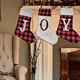 Medias de Navidad Juego de 3 Calcetín Navideño Rojo Personalizado Patrón de Bordado 56 cm Tamaño Grande Bolsa de Regalo de Caramelo para Decoración Navideña