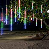 OMGAI 50CM 12 Tubes 576 LED Meteor Shower Rain Lights - Waterproof Drop Icicle Snow Falling Raindrop Cascading Lights for Garden Wedding Party Christmas Shine Multicolor
