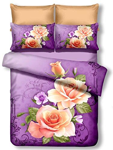 DecoKing Premium 01134 Parure de lit 200 x 200 cm avec 2 taies d'oreiller de 80 x 80 3D Microfibre Motif Floral Violet Prune Crème Écru Rose Candice
