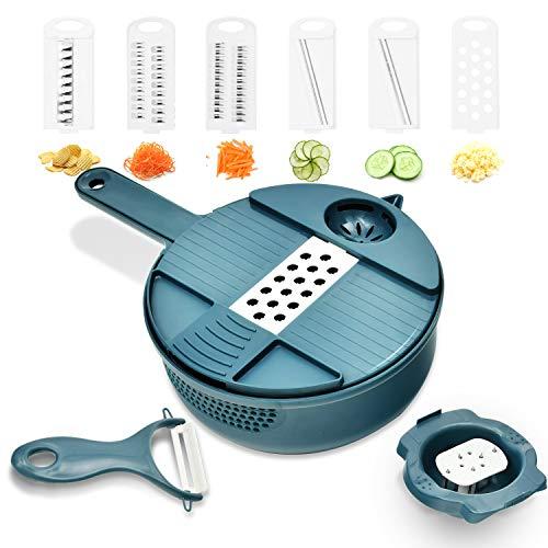 Mandoline Slicer Vegetable Slicer  Cheese Slicer Food Slicer 12in1 Vegetable Spiralizer Potato Slicer BPAFree Veggie Spiralizer 6 Blades
