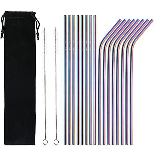 Qoosea Cannucce di Metallo 18 Pezzi Cannucce Riutilizzabili in Acciaio Inossidabile Color Arcobaleno da 10,5 ' Ultra Lunghe per 20/30 Once (8 dritti   8 piegati   2 pennelli)