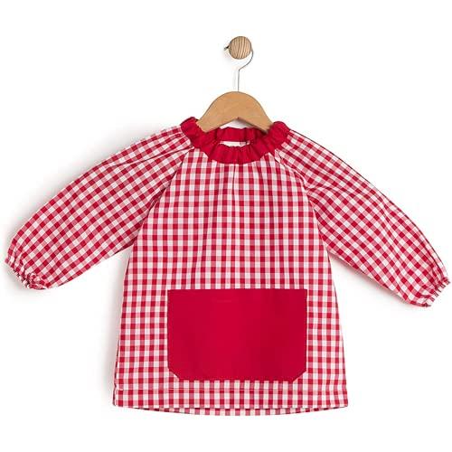 HOMYBABY® Babi escolar infantil para guarderia y colegio - Bata escolar para niño o niña - Baby escolar (Rojo, 1)